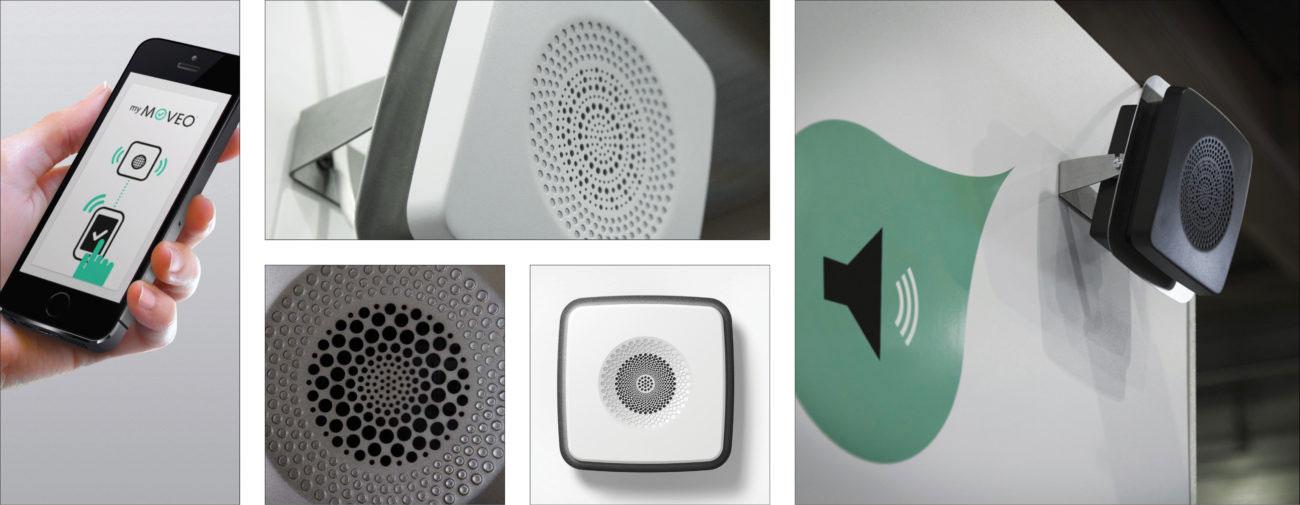 EO Guidage, Système de guidage sonore pour les personnes déficientes visuelles, Axena Design Objets connectés