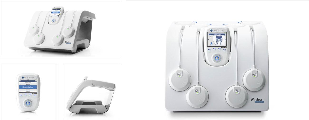 Compex Groupe DJO, Gamme de terminaux de stimulation musculaire sans fil, station de charge et IHM - Axena Design Produits grand public